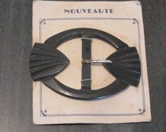 Genuine Vintage French Art Deco Buckle circa 1930 on original card - unused