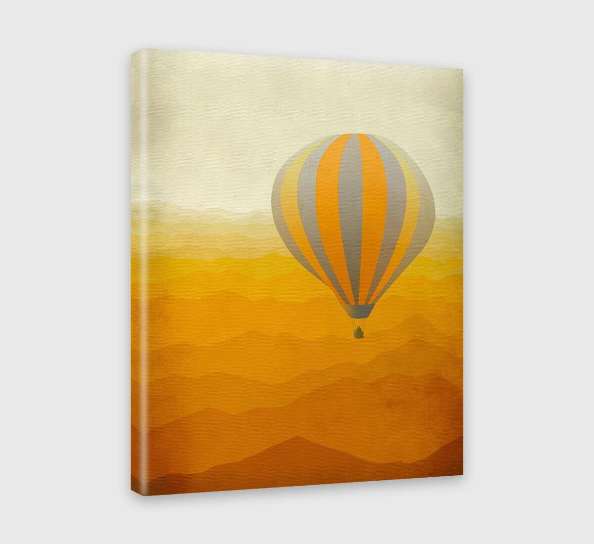 Nursery Canvas Art Print Hot Air Balloon Orange Nursery