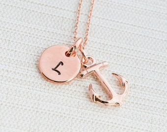 Rose Gold Initial and Anchor Necklace, Disc Necklace, Hand Stamped on Disc, Personalised Jewellery, Rose Gold Plated Necklace, gift idea