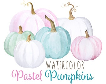 Watercolor Pastel Pumpkins, Crafty Halloween, Hipster pumpkin paintings, Teal pumpkin, Pink Pumpkin, White pumpkin