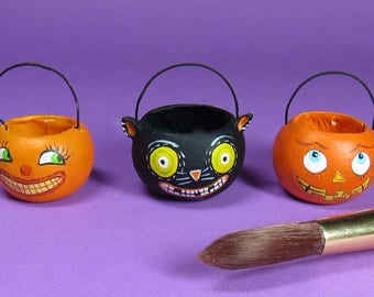 Collector Miniature 1:12  Sculpted OOAK Halloween Treat Candy Pail Buckets Baskets