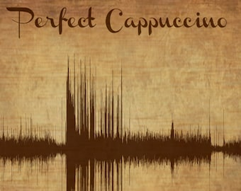 Cappuccino - Sound Wave Art / Coffee Shop Decor - created from Starbucks Cappuccino being made.  Unique Soundwave Design