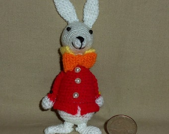 White Rabbit from Alice in Wonderland Miniature Doll 4 Inches Tall Thread Crochet