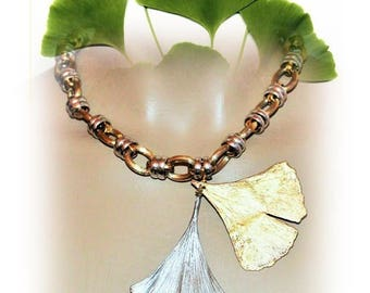 Necklace, ginkgo, modernist necklace, silver and gold ginkgo - GINKGO leaves