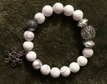 White Matte Beads Stretch Bracelet With Silver Hardware