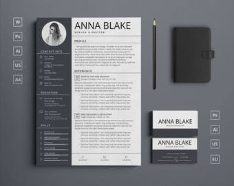 Modern Borderless CV/Resume and Business Card templates + Free Icons | Instant Download | Word, Photoshop, Illustrator