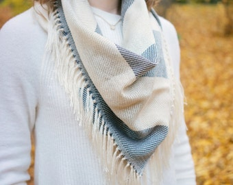 Blue and White Bandana Scarf, Handwoven Scarf, Woven Striped Scarf, Woven Bamboo Scarf, Womens Winter Accessory, Gifts for Her, Pashmina
