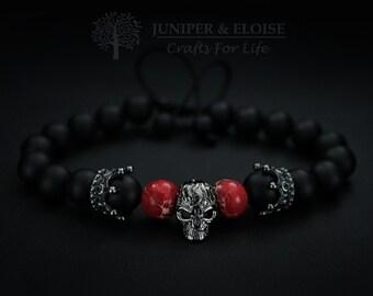 Skull Bracelet, Mens Bracelet, Womens Bracelet, Unisex Jewelry, Gunmetal Skull, Matte Bracelet,Crown Charm Bracelet, Valentines Day Gift