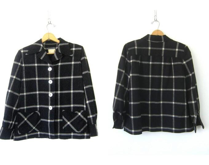 Vintage Black Wool Blazer Pendleton Jacket Hipster Boho Slouchy Windowpane Jacket Button Up Blazer Coat with Pockets Womens Medium Large