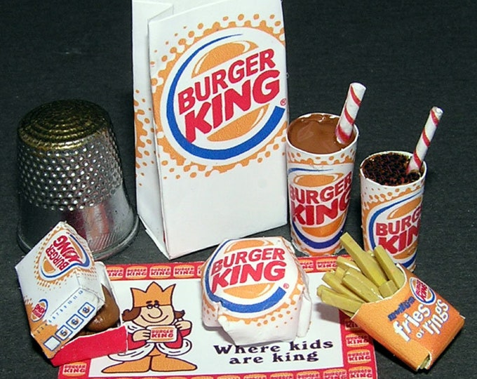 Fast food Burger King, Paperminis, Bastelkit of paper in miniature for the Dollhouse, the doll house, Dollhouse Miniatures # 40036