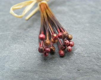 Copper Ball Head Pin - Copper Headpins - Copper Findings - Jewellery Making Supplies -  Ball End Head Pin - Headpins ~ Rustic ball head pins