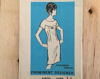 """Vintage 1970's mail order pattern Andrew Arkin A 931 Sheath dress with front yoke and short sleeve uncut Size 14 Bust 34"""""""