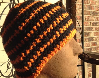 Black and Orange Multi-colored Striped Crocheted Beanie Hat Large Size Cancer Cap Knit Pumpkin Skullcap Hair XL XXL Party Trendy Accessory