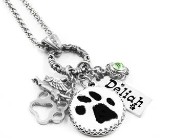 Paw Print Necklace, Pet Necklace Keepsake, Dog Paw Print Necklace, Personalized Necklace Paw Print, Your Pets Paw Print