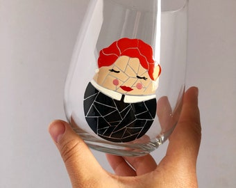 Lucille Ball Mosaic Hand Painted Wine Glass