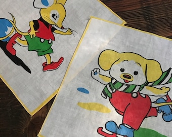 50's childs hankies mouse and dog with bonus