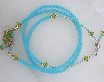 Eilis Necklace, Blue Aqua Chalcedony, Peridot, Sterling Silver, Gold Filled