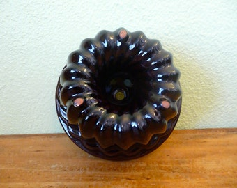 Scheurich Keramik West Germany Brown Glazed Ceramic Bunt Cake Pan