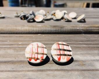 Retro Ceramic Earrings - 14k Gold - Handmade