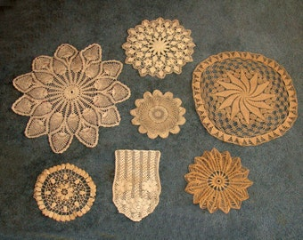 Beautiful vintage crochet doilies lot-hand made beige taupe off white round-french country old victorian house
