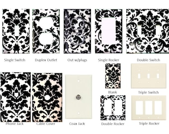 Light Switch Plate, Outlet Cover, Rocker, Cable, or Phone Jack - Mix and Match - Made with Black and White Classico (Damask) print fabric