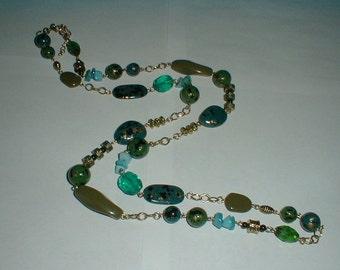 vintage premier designs blue green necklace speckled bead necklace long beaded necklace