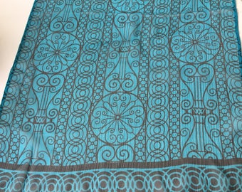 Silk Scarf Designer Long, Narrow, Sheer Turquoise and Black Shaw VICTORIA WARDl Accessory