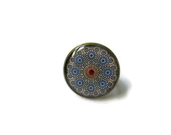 Inspirational ring - Mandala Ring - Spiritual Ring - Buddhist Mandala - Buddhism -  Mandala jewelry - Ornament Ring - Boho Ring - Blue Ring