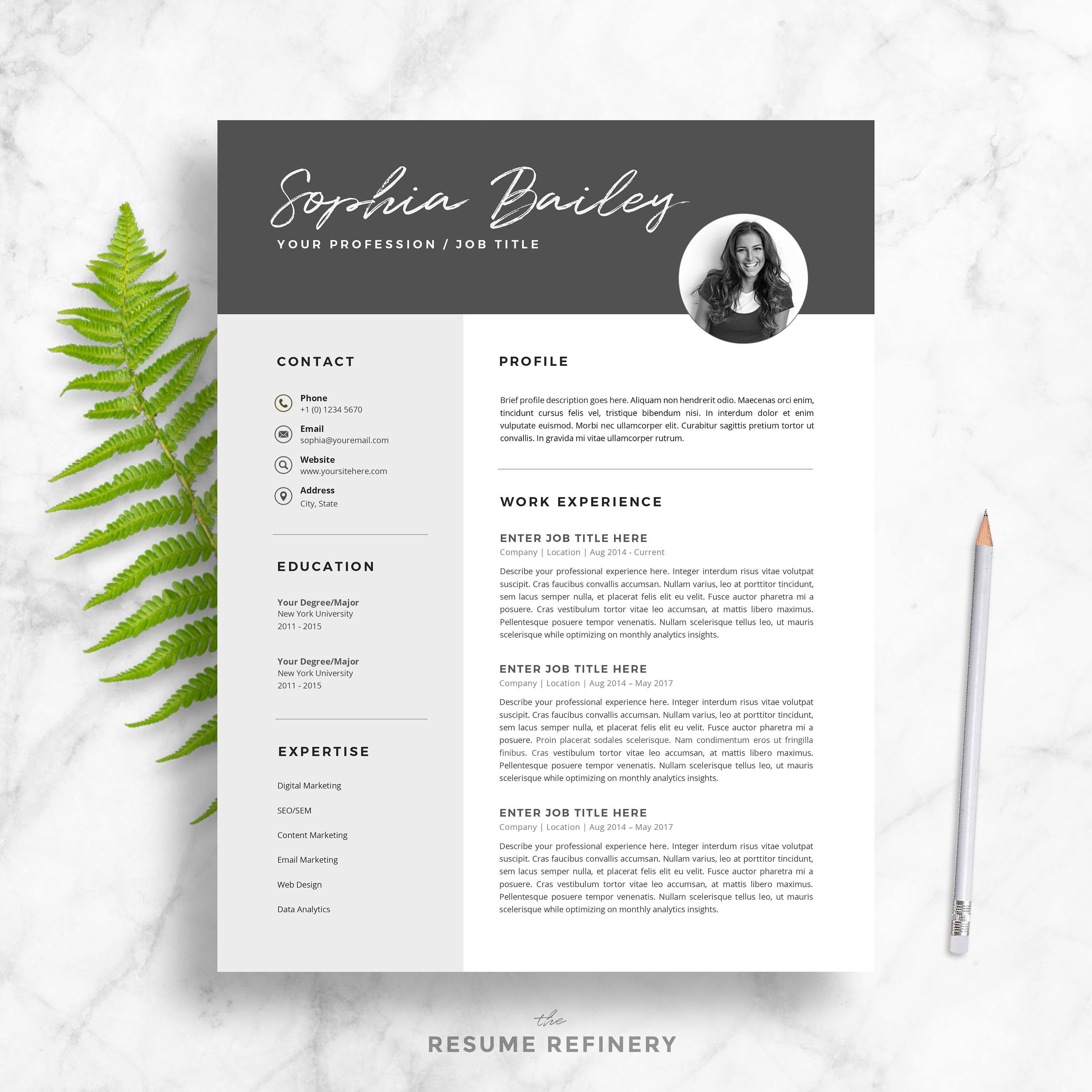 moderne 2 page cv lettre de motivation mod u00e8le pour word