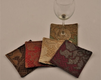 Free Shipping Eco Coasters Multiple Colors Silk Linen Upcycled Recycled Fabrics Waterproof Square