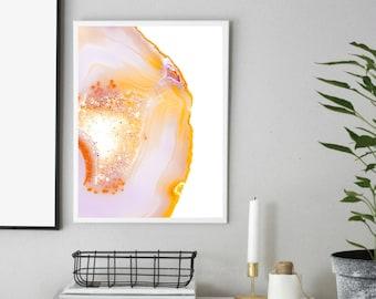 Pastel Geode Printable Art Print, Agate Crystal Art Print, Crystal Wall Art, Boho Wall Art, Rock Print, Gem Mineral Art, Mineral Photography