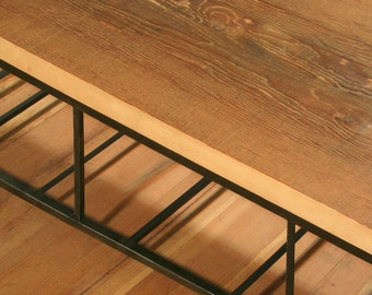 industrial blonde bench with flared leg and storage - from reclaimed old growth wood and high recycled content steel - modern coffee table