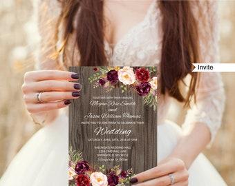 Rustic Wedding Invitation Template, Boho Chic Wedding Invitation, #A090, Instant Download, Editable PDF