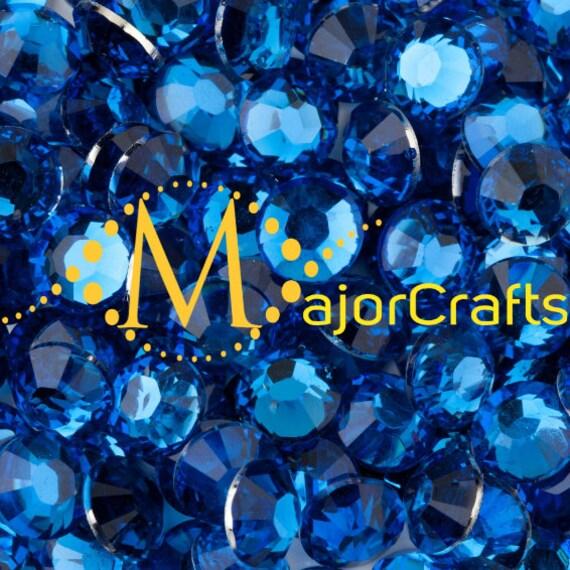 Azure Blue Flat Back Round Resin Rhinestones Embellishment Gems C9