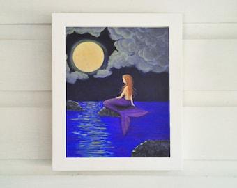 Moon-gazing Mermaid Art Print - Various Sizes: 4x6, 5x7, 8x10, 11x14 - Original Acrylic Mermaid Art