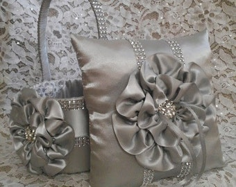 Platinum Flower Girl Basket and matching Ring Bearer Pillow with Rhinestone Mesh handle and Trim