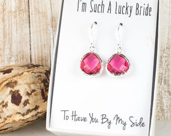 Fuchsia Silver Earrings, Fuschia Silver Teardrop Earrings, Bridesmaid Gift, Fuchsia Silver Wedding Jewelry, Bridesmaid Earrings