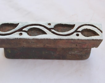 Wooden Hand Cuved Vintage Border For Crafting Fabric Textile Hand Curved Stamp Block.