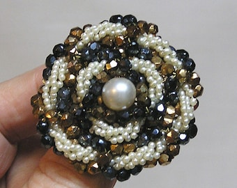 Lovely Signed VENDOME Brooch of Seed Pearls and Faceted Glass Beads