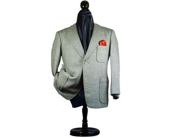 Rare Japanese Handmade True Bespoke 42S 42 Shimizu Gray Tweed Sport Coat Portly