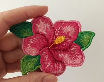 Flower hand embroidered patch