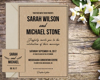 Wedding Invitation, Classic Wedding, Rustic Wedding, Country Wedding, Printable Wedding, Invitation template, Wedding invitation