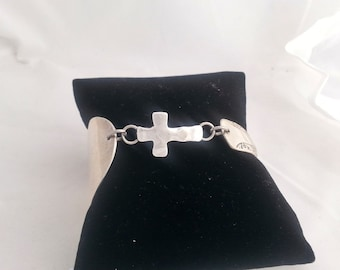 Spoon bracelet, cross and spoon, faith inspired, silver, gifts for her, upcycled, Mother's day, free shipping gift box, ready to ship