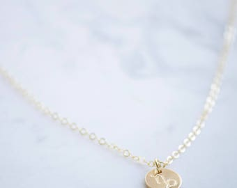 CAPRICORN Necklace / Zodiac Charm Necklace- Hand stamped- 14k gold filled, Sterling Silver