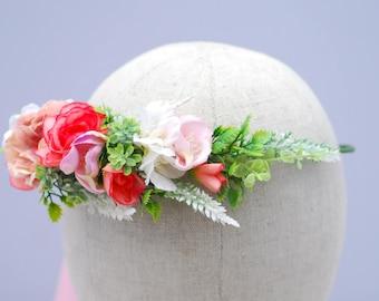 Pink Blush flower crown Boho weddings Flower halo Bridal floral crown Wedding flower crown Floral crown Flower hair wreath Bridal headpiece