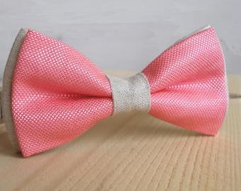 Groomsmen Bow ties, Best Man Gift, Bachelor Gift, Groomsmen Gift, Coral Bow tie, Linen Bow tie, Wedding ties