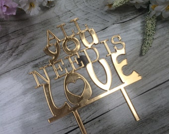 All You Need is Love Wedding Cake Topper - Gold and Wood - Choose your Colour!