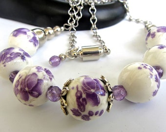 Sale - discounted  - Lavender white ceramic beaded necklace - silver magnetic clasp - OOAK - lavender flowers - large white beads