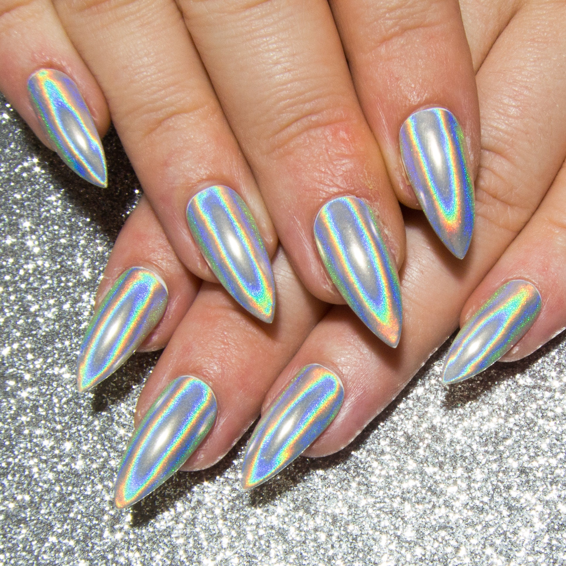 Fake Nails: Holographic Chrome Nails Stiletto Acrylic Nails Mirror Gel