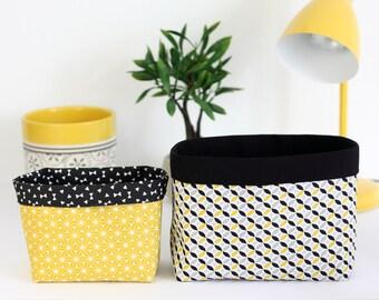Duo de paniers de rangement en tissu, coloris jaune et noir